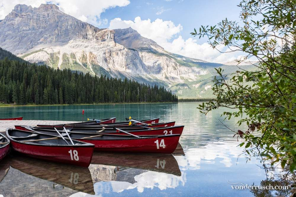Canoes on Emerald Lake     British Columbia Canada