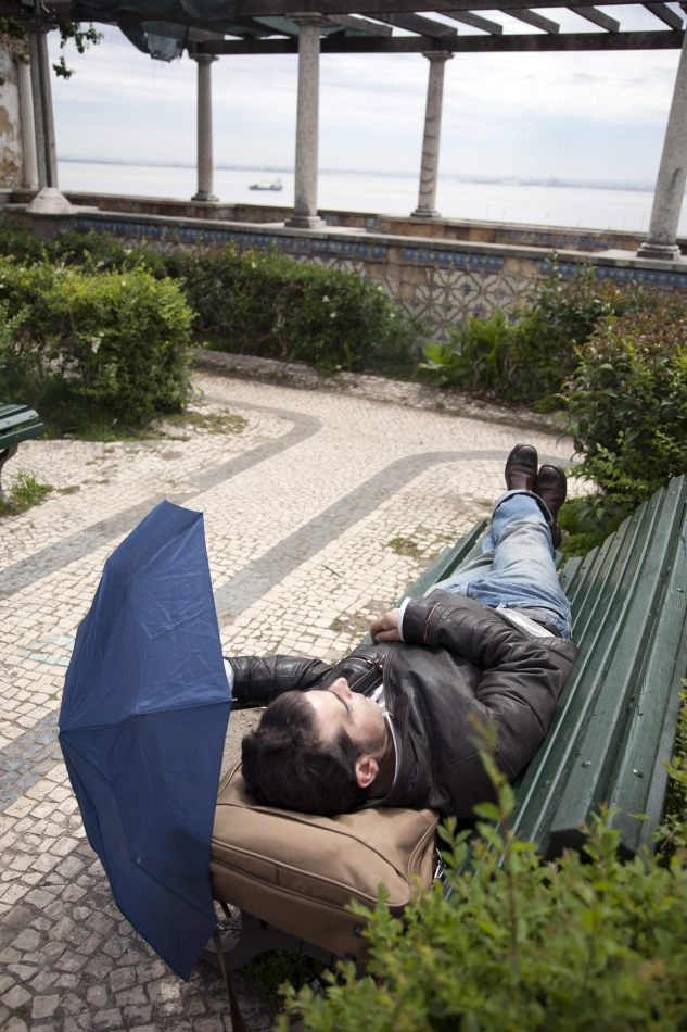 Anthony Ellis Photography: Gothica - Man Sleeping on Park Bench Shaded by Umbrella