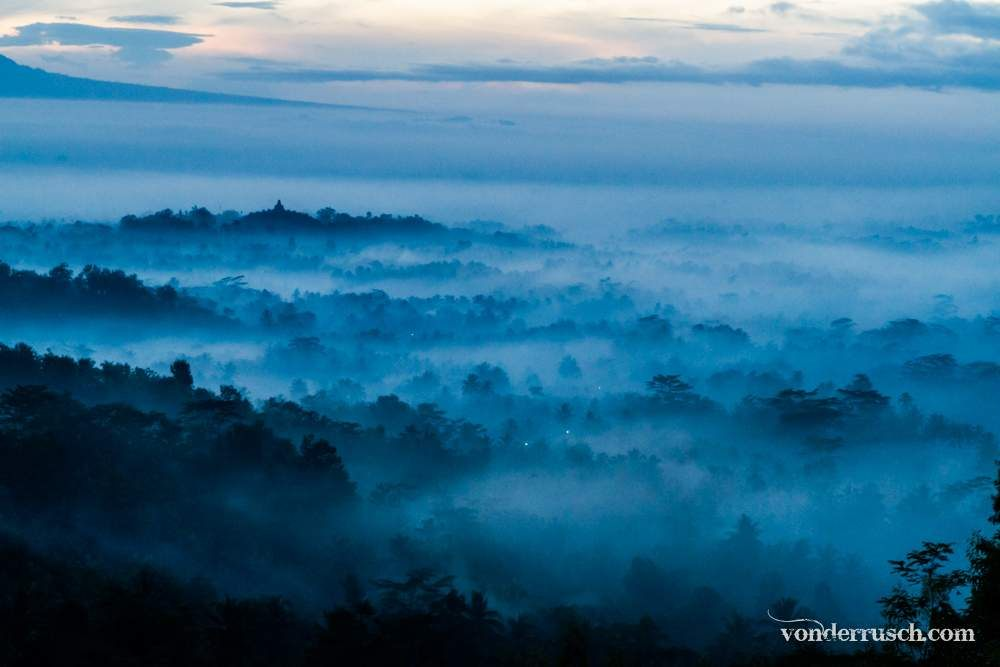 Dawn Over Borobudur     Java Indonesia