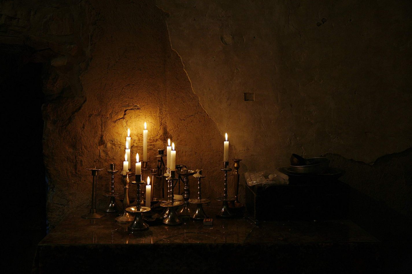 Anthony Ellis Photography: Shadows and Steps - Candles in the Chapel of Mar Musa