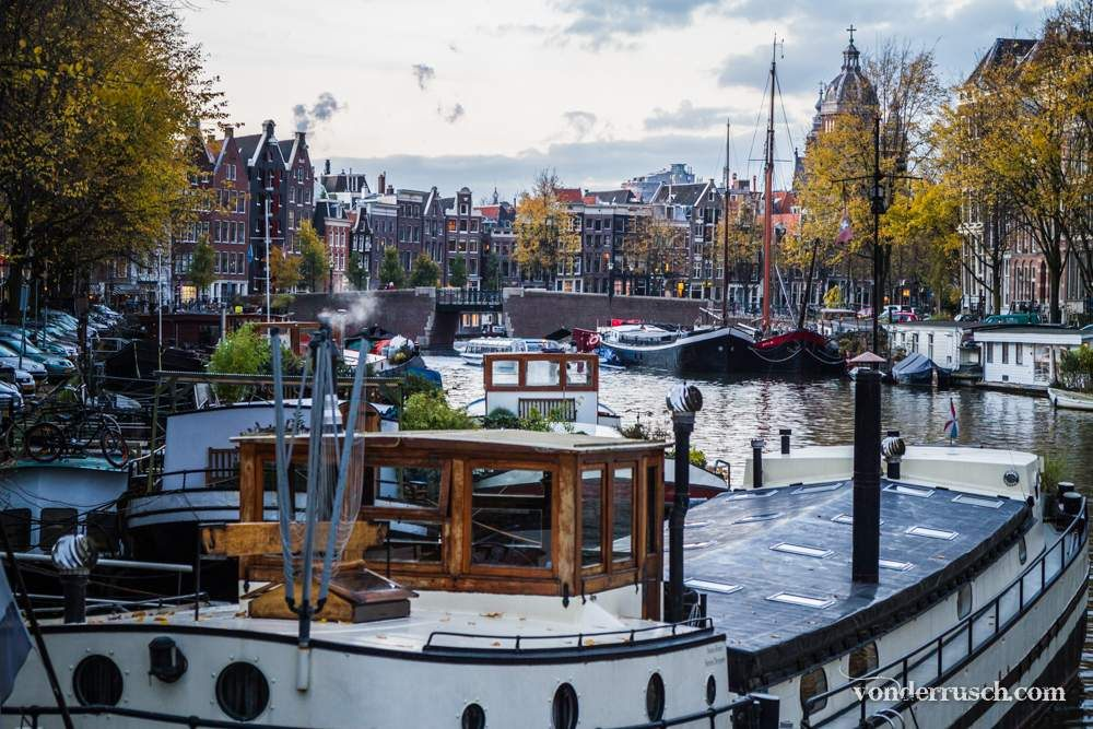 Boats on the Canal     Amsterdam The Netherlands