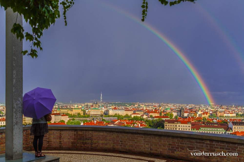 Rainbow Over Prague Czech Republic