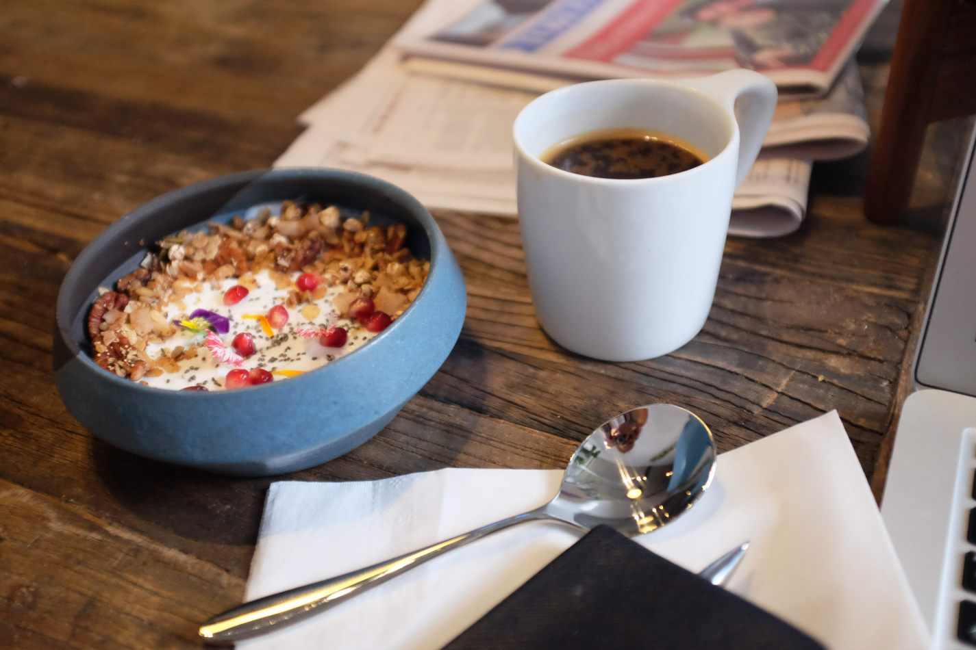 Hibiscus & Nomada : - - Granola Parfait & Coffee at Early Bird Café
